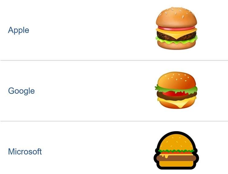 مقایسه ایموجی همبرگر گوگل و اپل